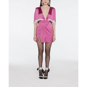 RAISA&VANESSA Beaded Satin Mini Dress Hot Pink